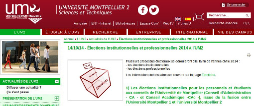 Elections à l'université Montpellier II (sciences) (copie d'écran du site de la fac)