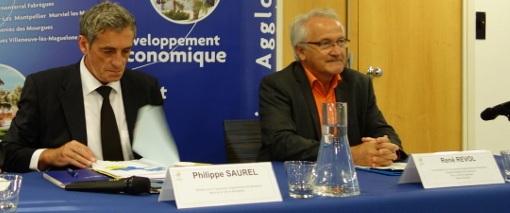 Philippe Saurel, président (divers droite) de l'Agglo de Montpellier et René Revol, vice-président (PG) le 15 octobre 2014 (photo : J.-O. T.)