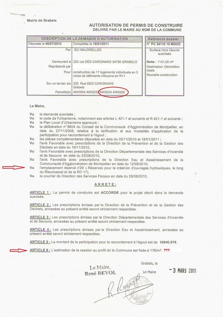Permis de construire accordé à la SCI Majorelles par la commune de Grabels le 3 mars 2011