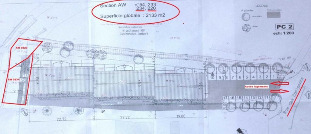 Plan du projet des 17 logements