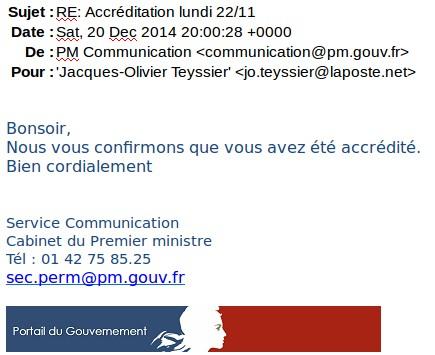 Le mail du cabinet du premier ministre indiquant l'accréditation