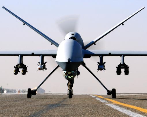 Un drone Reaper à Kandahar avant une mission dans le ciel d'Afghanistan (photo : Cpl Steve Bain ABIPP, licence Open Government Licence v1.0)