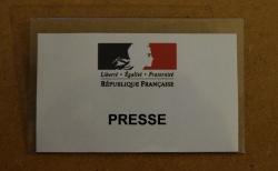 Badge presse remis à Montpellier journal lors de la cérémonie à la préfecture de l'Hérault le 22 décembre 2014
