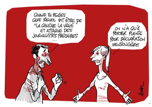 "René Revol et ""La gauche la vraie"" (dessin : Aurel)"