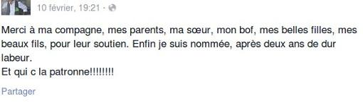 L'heureuse élue a annoncé la nouvelle sur Facebook (copie d'écran)