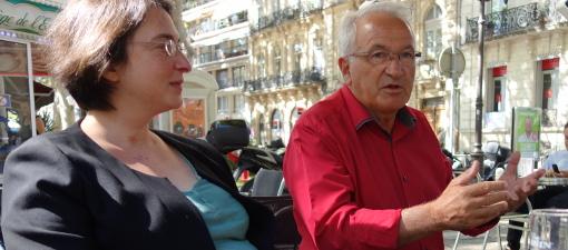 Muriel Ressiguier, candidate aux cantonales 2015 (canton 2 de Montpellier) et René Revol, maire Parti de gauche de Grabels le 3 septembre 2014 (photo : J.-O. T.)