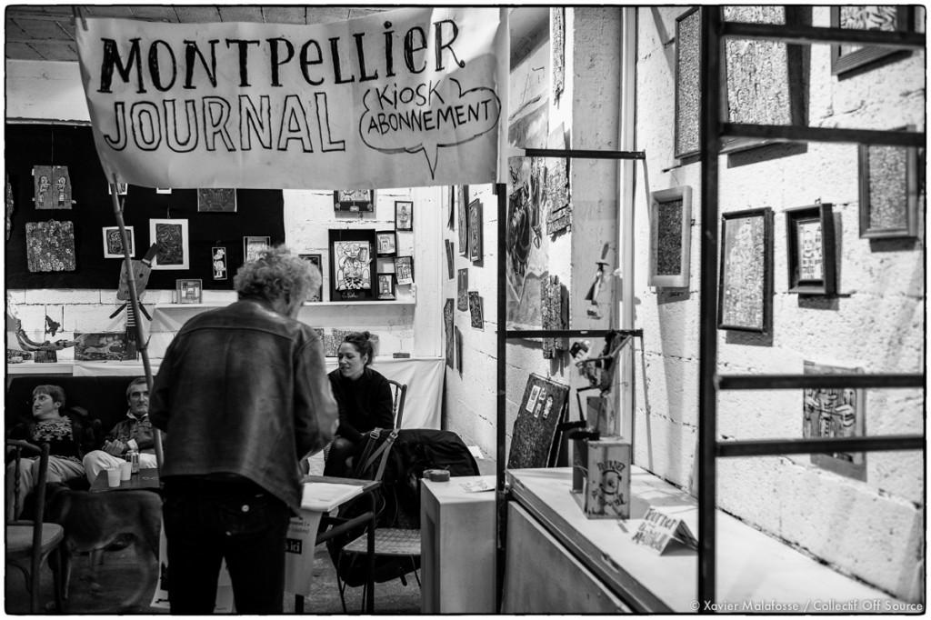 """Le """"kiosk"""" abonnement lors de la soirée Montpellier journal à l'Atelier du nord le 7 mars 2015 (photo : Xavier Malafosse)"""