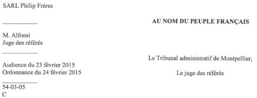 Entête de la décision du tribunal administratif de Montpellier sur le marché de l'entretien des fontaines de la ville