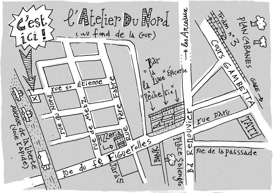Plan d'accès à l'Atelier du nord à Montpellier (Figuerolles) (réalisation : Bertrand Lecointre)