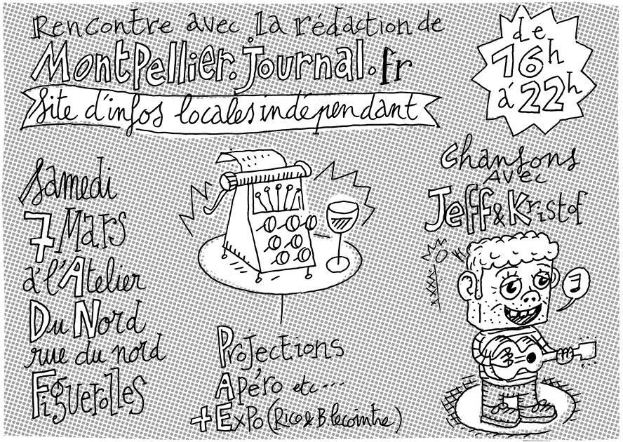 L'invitation à la soirée Montpellier journal du samedi 7 mars 2015 (réalisation : Bertrand Lecointre)