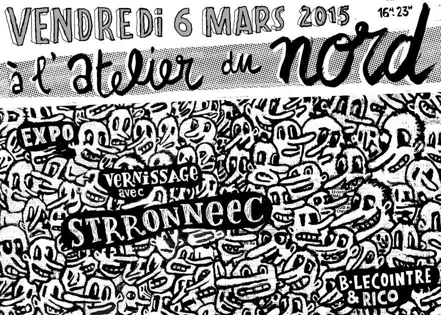 Invitation à la soirée expos de Bertrand Lecointre et Rico du vendredi 6 mars 2015 à l'Atelier du nord à Montpellier (Figuerolles) (réalisation : Rico)