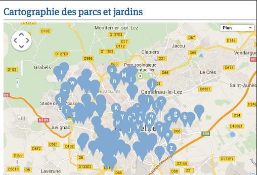 Extrait de la cartographie des parcs de Montpellier (source : ville de Montpellier, carte : Google)