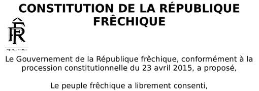 Entête de la constitution de la République frêchique