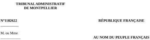 Entête de la décision du tribunal administratif de Montpellier du 6 juin 2013 concernant la SCI Majorelles et la commune de Grabels