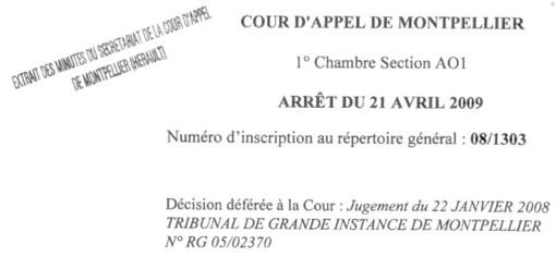 Entête de la décision de la cour d'appel de Montpellier du 21 avril 2009 concernant la commune de Grabels et la SCI Jonchris