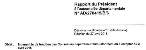 Entête de la délibération votée le 27 avril 2015 fixant les indemnités des conseillers départementaux de l'Hérault
