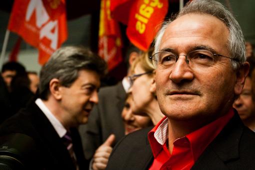 René Revol le 29 janvier 2010 lors d'un meeting avec Jean-Luc Mélenchon (photo : Xavier Malafosse)