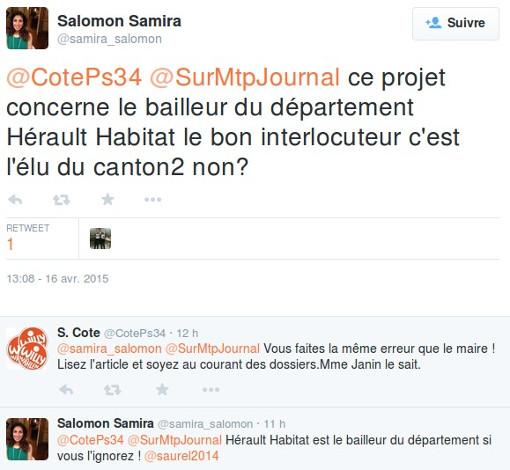 Echanges de Samira Salomon avec Sébastien Cote, proche de Michaël Delafosse, sur Twitter