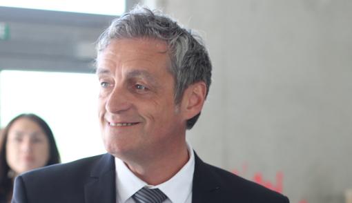 Philippe Saurel, président de la métropole de Montpellier, le 14 mai 2014 dans les locaux du futur centre d'art contemporain (photo : J.-O. T.)