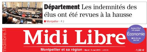 La hausse des indemnités des conseillers départementaux en Une de Midi Libre le 5 mai 2015