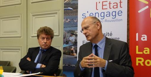 Damien Alary, président de la région Languedoc-Roussillon et Pierre de Bousquet de Florian, préfet de l'Hérault le 22 octobre 2014 (photo : J.-O. T.)