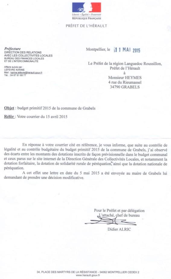 Courrier du préfet de région sur le budget 2015 de la commune de Grabels