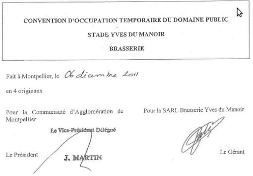 Entête et signatures de la convention d'occupation du domaine publique de la brasserie du stade de rugby de Montpellier