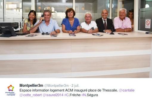 Sur le compte Twitter de la métropole de Montpellier le 2 juillet 2015 : Khanthy Phouthasang, Philippe Saurel, Claudine Frêche, Noël Ségura, Robert Cotte, Gérard Castre (copie d'écran)