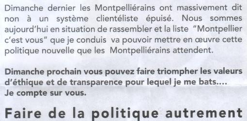 Extrait d'un tract de la liste Saurel lors de l'entre deux tours des municipales 2014
