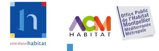 Logos de Côte d'azur habitat et ACM, bailleurs sociaux à Nice et Montpellier