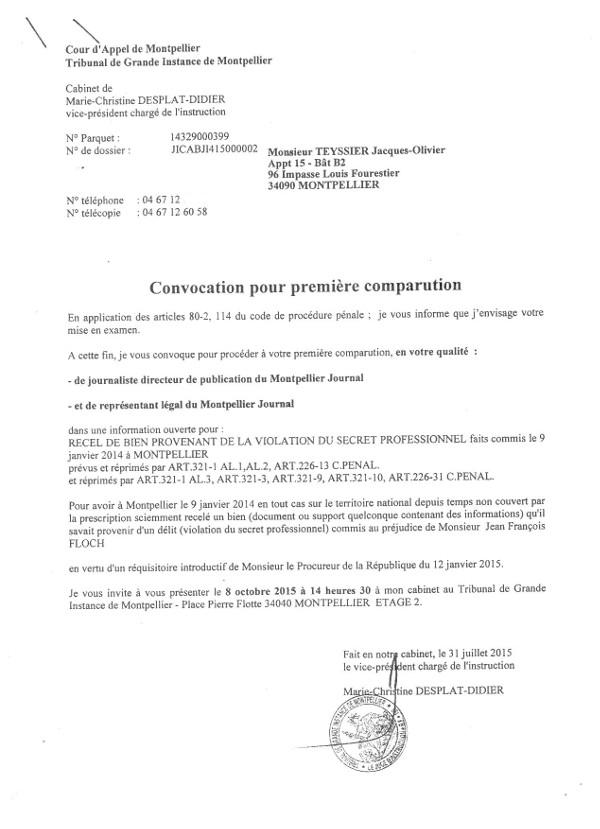 Convocation chez une juge d'instruction reçue fin août 2015