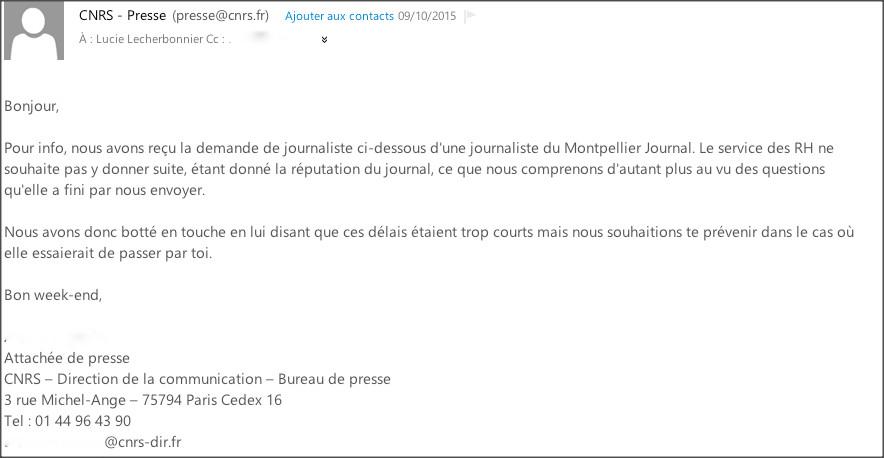 Un mail du service de presse du CNRS envoyé par erreur à Montpellier journal