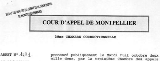 Entête de la décision de la cour d'appel de Montpellier de 2002 condamnant Pierre Dudieuzère pour corruption