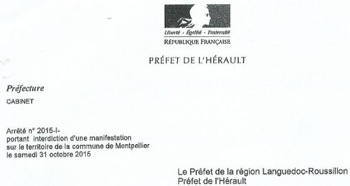 Entête de l'arrêté préfectoral interdisant une manifestation du comité BDS 34 à Montpellier