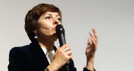 Carole Delga, propable future présidente de la région Midi-Pyrénées-Languedoc-Roussillon le 10 décembre 2015 au Gazette café de Montpellier (photo : J.-O. T.)