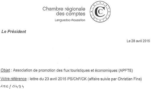 Entête du courrier daté du 28 avril 2015 adressé par le président de la Chambre régionale des comptes du Languedoc-Roussillon à Philippe Saurel sur les subventions aux compagnies aériennes low cost