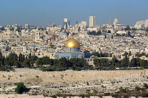 Vue générale du dôme du Rocher à Jérusalem-Est, troisième lieu saint pour les musulmans, le 10 novembre 2008 (photo domaine public : Berthold Werner)