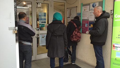 Le sas de l'agence Pôle emploi de Celleneuve à Montpellier (photo : Lucie Lecherbonnier)