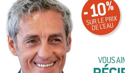 Extrait de la publicité sur la régie publique de l'eau de la métropole de Montpellier avec la photo de Philippe Saurel sur toute la hauteur
