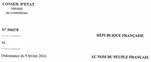 Entête de l'ordonance du Conseil d'état du 9 février 2016 sur une assignation à résidence