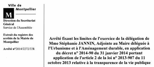 Extrait de l'arrêté signé par Philippe Saurel, le maire de Montpellier, fixant les limites de l'exercice de la délégation de Stéphanie Jannin, adjointe au maire déléguée à l'urbanisme et à l'aménagement durable