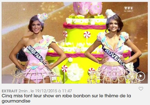 Sur la page Miss France du site de TF1 (copie d'écran)
