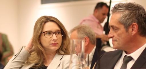 Stéphanie Jannin et Philippe Saurel en conseil de métropole le 15 avril 2014 (photo : J.-O. T.)