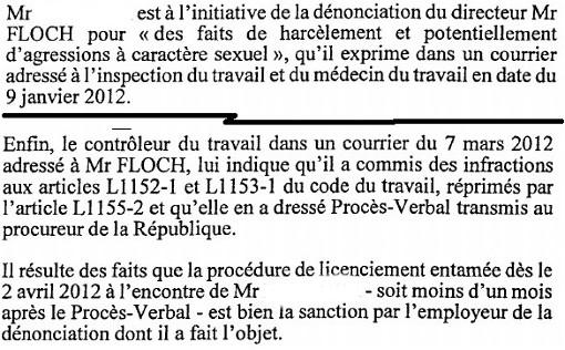 Extrait d'un jugement du conseil des prud'hommes condamnant Jean-François Floch, dirigeant d'Eramondi (ex Bioréalités)