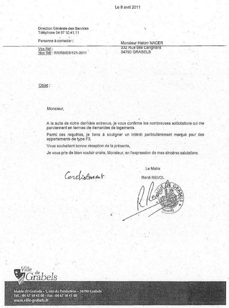 Lettre de René Revol à Abdelhakim Nacer du avril 2011 (source : mairie de Grabels)